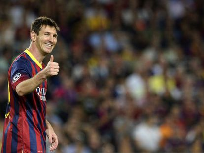 Lionel Messi gives the thumbs up during the Champions League match against Ajax.
