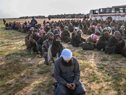 ISIS fighters being held by Syrian opposition forces on February 22.