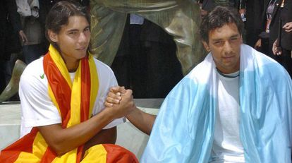 Rafa Nadal with Mariano Puerta after the Spaniard won his first French Open title in 2005.