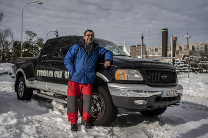 Daniel Gala with his Ford F150 truck in Madrid's Barrio del Pilar on Sunday.