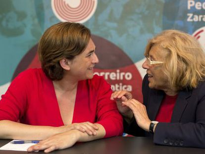Barcelona and Madrid mayors Ada Colau and Manuela Carmena, in a file photo from May.