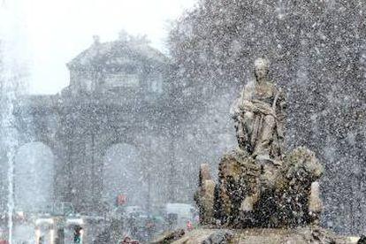 Snowfall in Madrid.