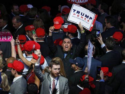 Trump supporters celebrate at the New York Hilton on Tuesday night.