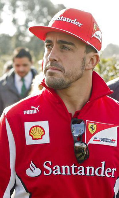 Fernando Alonso at a promotional event at the Madrid headquarters of  Banco Santander.