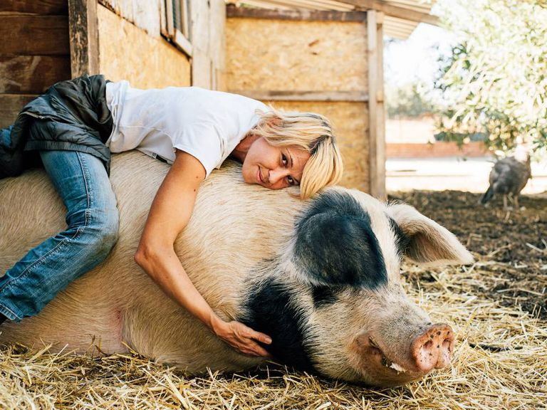 Laura Luelmo, head of the farm animal sanctuary Wings of Heart, and Baku the pig.
