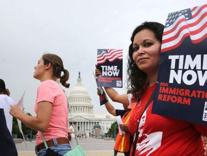 A demonstration in Washington DC in favor of immigration reform.