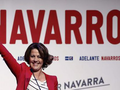 Yolanda Barcina, regional premier of Navarre and leader of UPN, at a campaign rally.