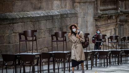 A closed sidewalk café in Ourense, Galicia last month.