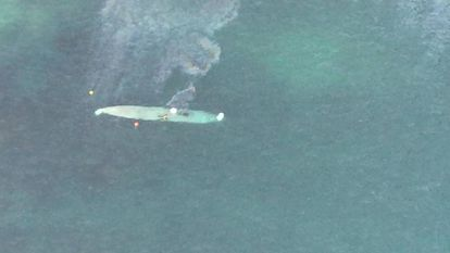 An aerial shot of a narco-submarine off the coast of Pontevedra.