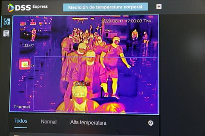 Thermal imaging technology at the Madrid airport.
