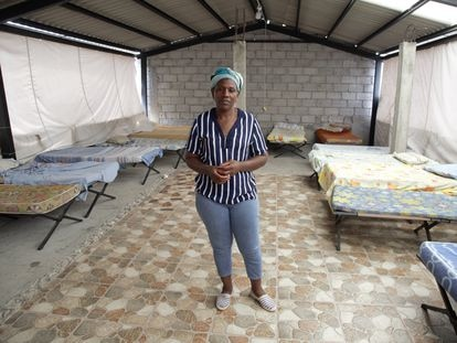 Carmen Carcelén in one of the rooms of her house that shelters migrants from Venezuela.