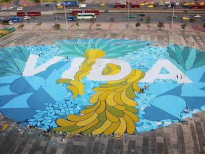 The street art created by residents of Plaza de la Hoja in Bogotá.