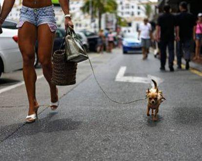A shopper in Marbella, where the crisis has not been felt as hard.