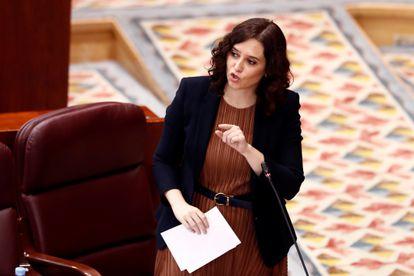 Madrid premier Isabel Díaz Ayuso inside the regional assembly on Thursday.