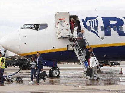 A Ryanair plane at Spain's Castellón airport.