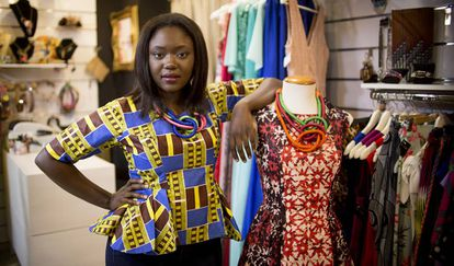 Mamy Awa Thioune shows off one of her creations, which sell at a store called Ópalo Negro.