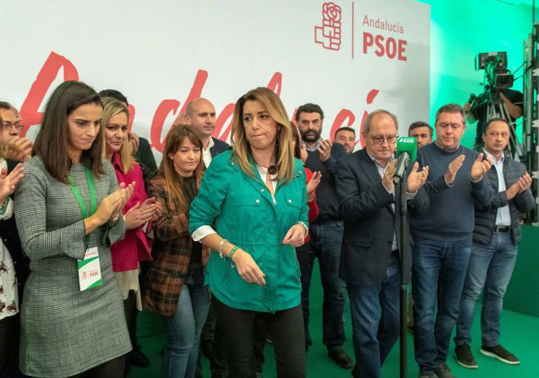 Socialist Party chief in Andalusia Susana Díaz, after making a statement last night in Seville.