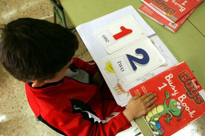 A pupil at a bilingual school in south Madrid.