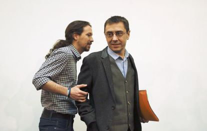 Pablo Iglesias and Juan Carlos Monedero, in a file photo from February.