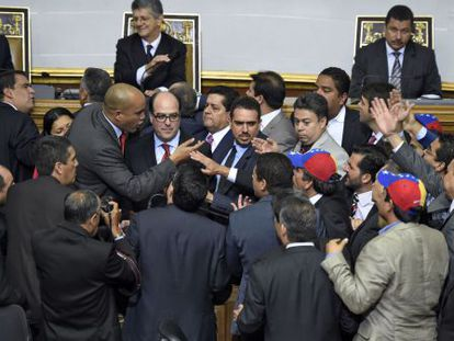 Tension at the National Assembly in Venezuela on Tuesday.