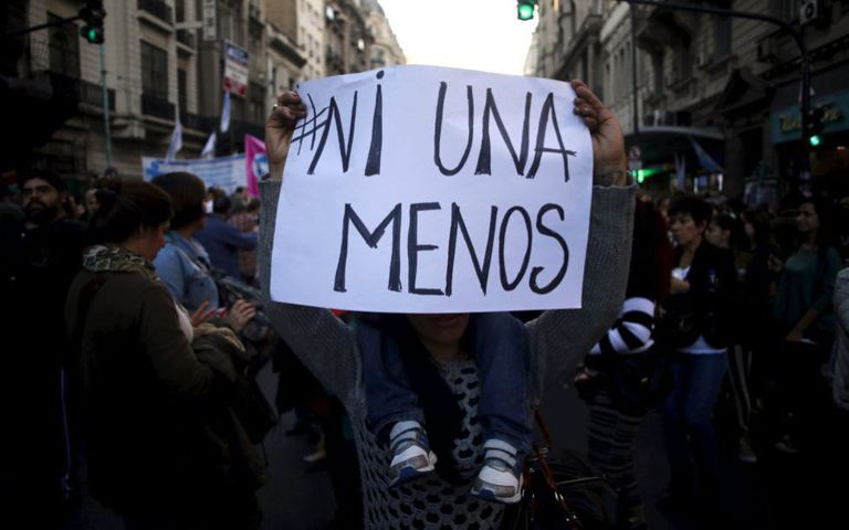 Poster with slogan #NotOneMore during a march in Buenos Aires on June 3, 2015.