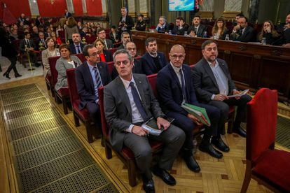 The defendants inside the Supreme Court in Madrid.