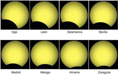 An estimation of what the eclipse will look like in different cities across Spain.