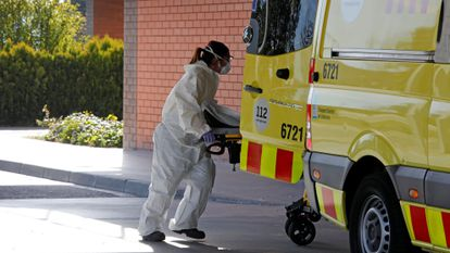 An emergency worker in Igualada, a town in Catalonia that is in confinement after a sudden surge in coronavirus cases.