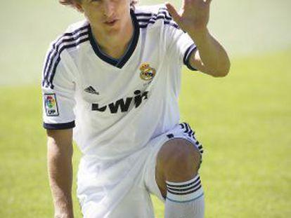 Luka Modric during his presentation on Monday.