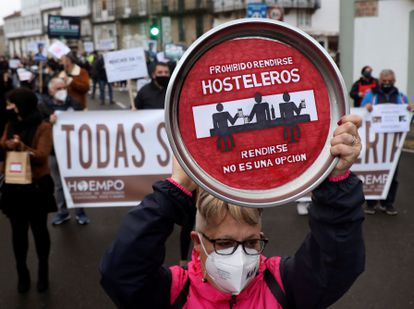 Hospitality and retail workers protesting in Galicia, in northwestern Spain.