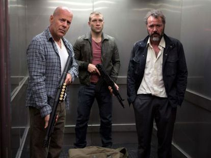 Yippee ki-yay: Father and son Bruce Willis (l) and Jai Courtney (c) team up in A Good Day to Die Hard.