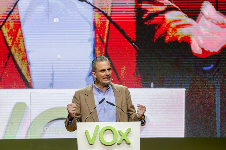 Vox general secretary Javier Ortega Smith during a party rally on Sunday in Madrid.