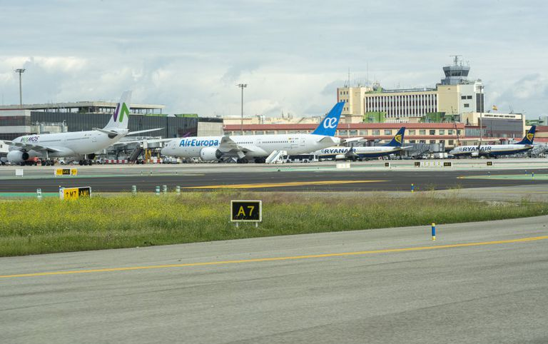 Planes parked at T1 terminal at Madrid-Barajas airport due to the coronavirus crisis.