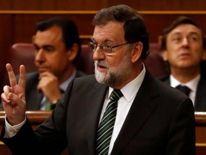 Mariano Rajoy during a government control session in Congress.