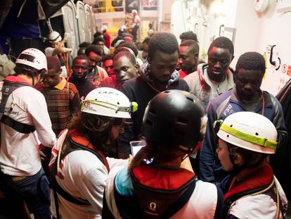 A group of migrants on the 'Aquarius' on Saturday night.