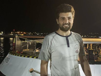 Ali Maray, after disembarking from the 'Open Arms' in Lampedusa.