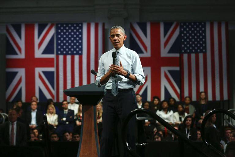 US President Barack Obama delivering a speech in London.