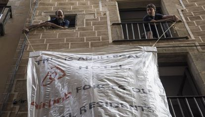 A protest against Airbnb in Barcelona.