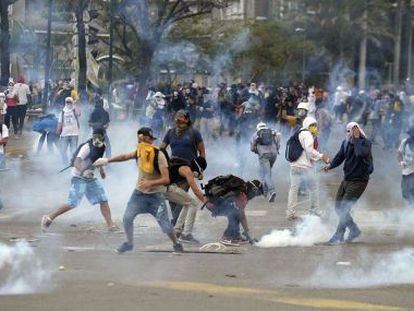 Protests in Caracas get underway on Monday.