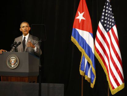US President Barack Obama addresses the Cuban people at Havana's Grand Theater.