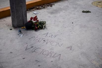 """Graffiti with the message: """"They killed Victoria here."""""""