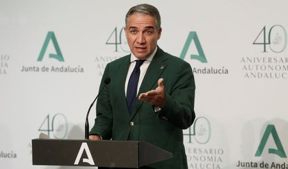 Elías Bendodo, the Andalusian government spokesperson, at a news conference on Tuesday.