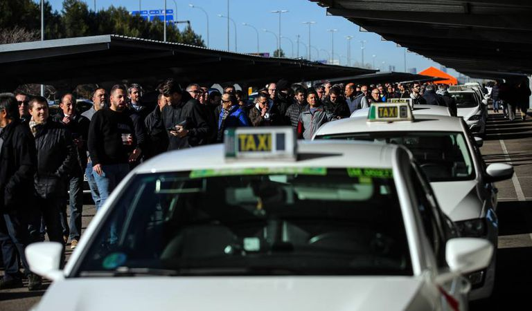 Drivers wait to vote on the strike on Tuesday.