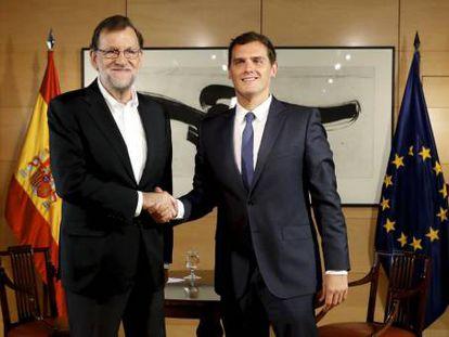 Mariano Rajoy and Albert Rivera last week.