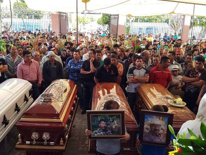The funeral for four people killed in a recent clash between the military and civilians in the state of Puebla.