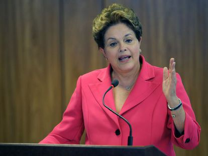 President Dilma Rousseff during a press conference after the Mercosur Extraordinary Summit.