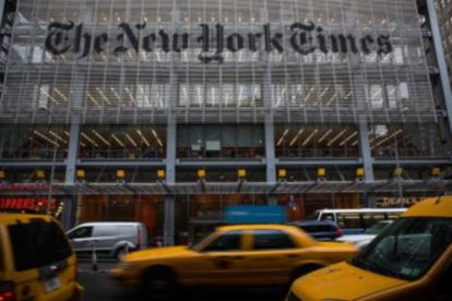 The entrance to the 'The New York Times,' in New York City.