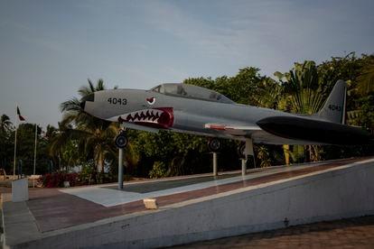 A small plane outside the military base at Pie de la Cuesta.