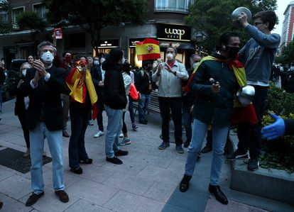 A protest against the government on Thursday in the Salamanca district of Madrid.