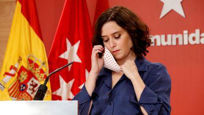 Madrid premier Isabel Díaz Ayuso at a press conference on Thursday.